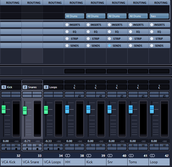 Create drum groups and VCA tracks for a better automation and workflow