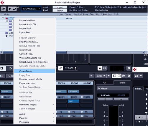 Cubase Media Pool - Create Folders and propper naming