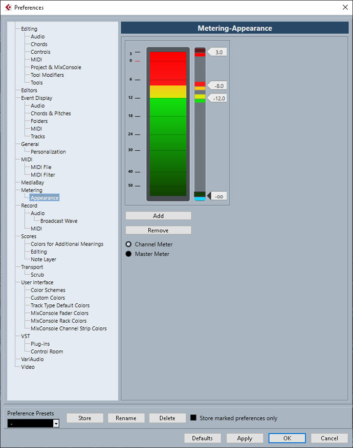 Cubase Channel Meter Settings for colouring