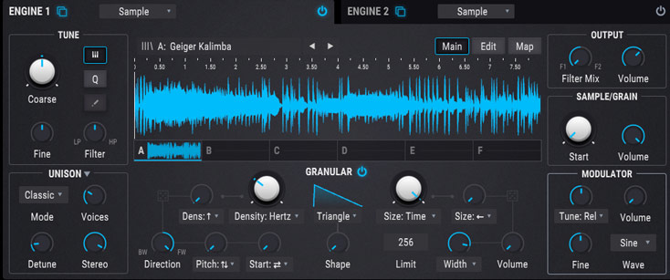Pigments 2 sample engine with granular synthesis