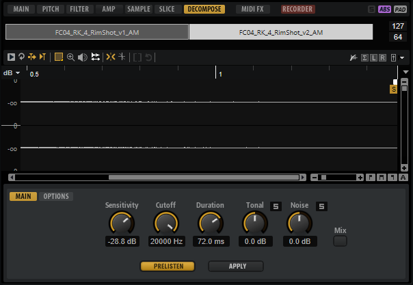 Groove Agent decompose feature for controlling tonal content in samples