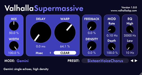 Valhalla Supermassive used for chrous effects
